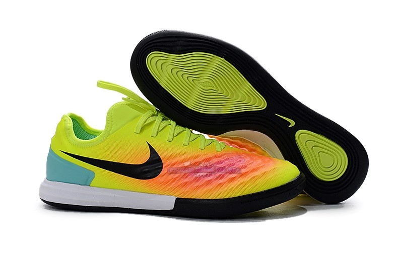 Ventes Nike MagistaX Finale II IC Vert Orange Rose