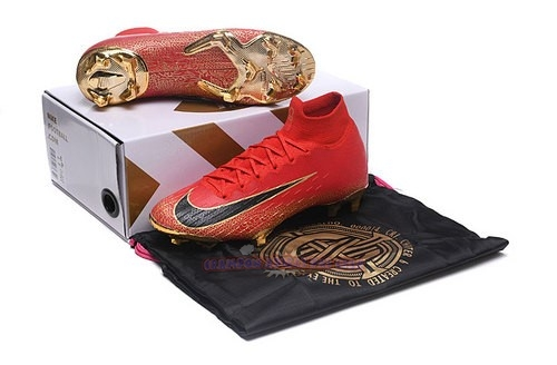 Ventes Nike Mercurial Superfly VI Elite CR7 Enfant FG Rouge Or