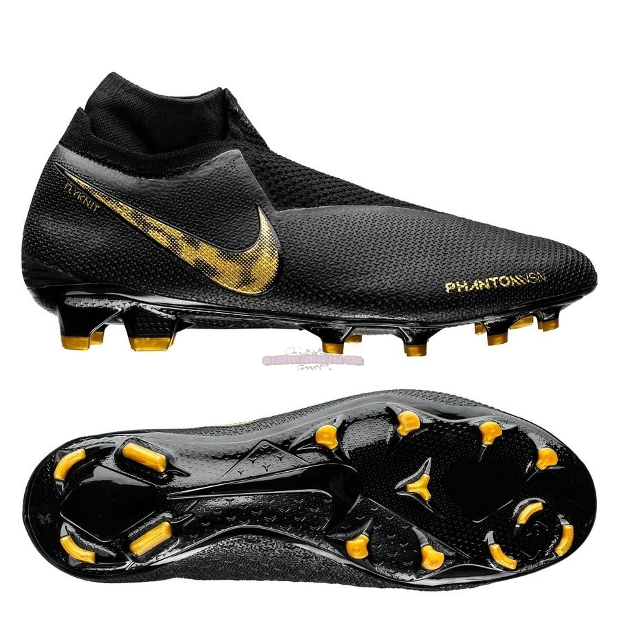 Ventes Nike Phantom Vision Elite DF FG Black Lux Noir Or